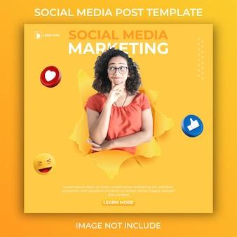 Bearbeitbare social-media-post-vorlage. 3d-marketing-banner
