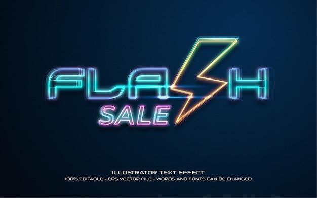 Bearbeitbare texteffekt-illustrationen im flash-verkaufsstil