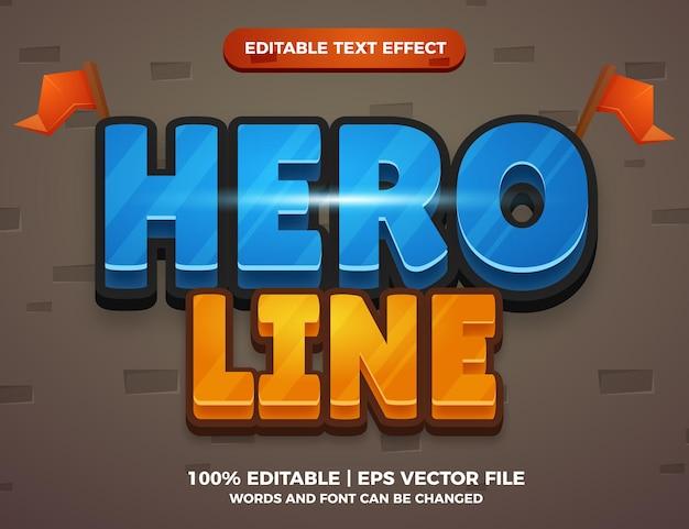 Bearbeitbare texteffekt-stilvorlage für heldenlinien-cartoon-spiele