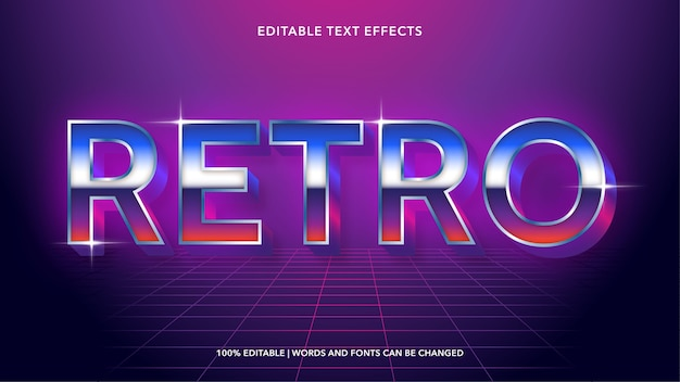 Bearbeitbare texteffekte der retro 80er