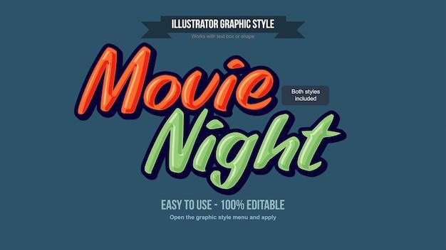 Bearbeitbare texteffekte für orange und grüne cartoons 3d