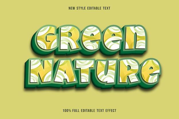 Bearbeitbare texteffektfarbe der grünen natur grün und weiß