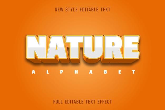 Bearbeitbare texteffektnaturalphabetfarbe weiß und orange