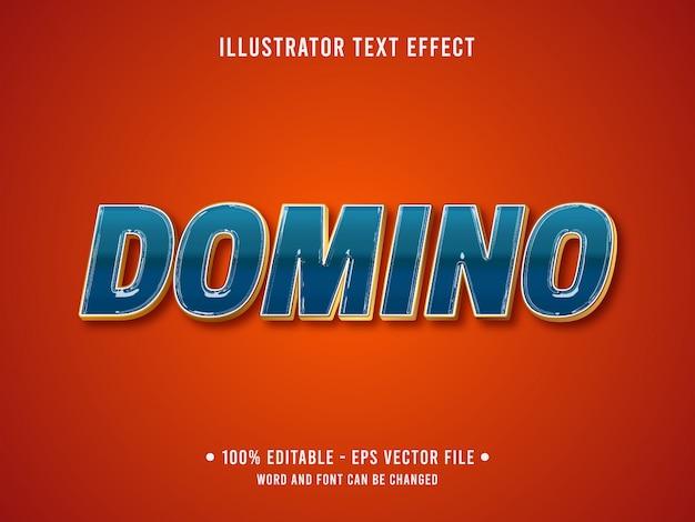 Bearbeitbare texteffektschablone blauer domino-chromstil
