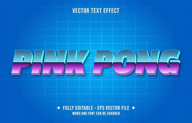 Bearbeitbare texteffektschablone des rosa pong-retro-farbverlaufsstils