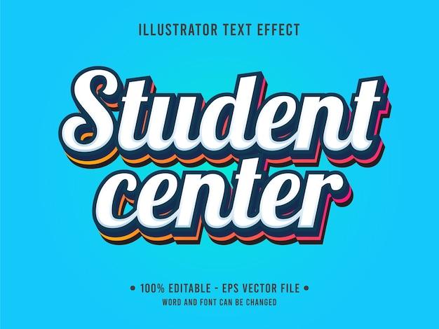 Bearbeitbare texteffektvorlage für das studentenzentrum