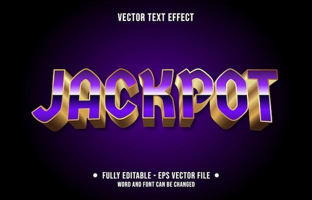 Bearbeitbare texteffektvorlage im jackpot casino-farbverlaufsstil
