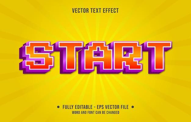 Bearbeitbare texteffektvorlage retro-spiel start farbverlauf stil premium