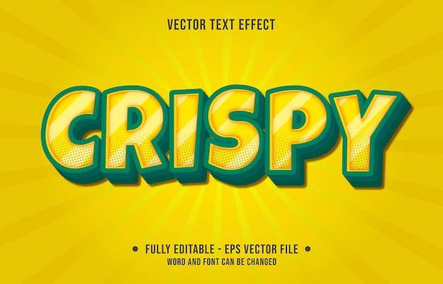 Bearbeitbare texteffektvorlagen knuspriger gelber und grüner farbverlauf im modernen stil