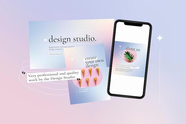 Bearbeitbare vektorvorlage für geschäftswerbung auf lila farbverlaufsgrafik mit smartphone-bildschirm