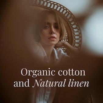 Bearbeitbare vintage-mode-vorlage aus bio-baumwolle und naturleinen