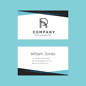 Bearbeitbare visitenkartenvorlage im blauen modernen design-set