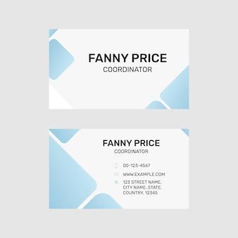 Bearbeitbare visitenkartenvorlage im modernen design in weiß und blau