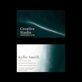 Bearbeitbare visitenkartenvorlage ozean mit schwarzem hintergrund