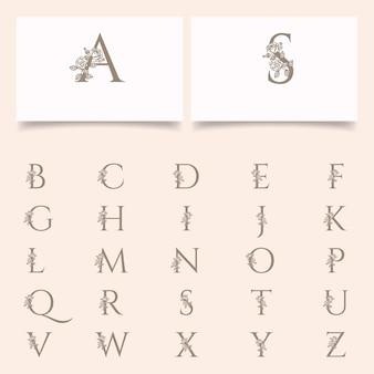 Bearbeitbare vorlage des blumenblumenbuchstaben der weiblichen blume