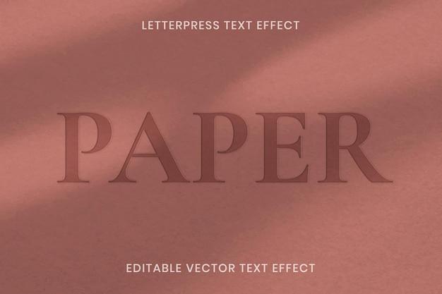 Bearbeitbare vorlage für buchdruck-texteffektvektoren