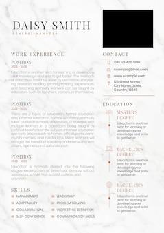 Bearbeitbare vorlage für den kreativen lebenslauf für die jobsuche