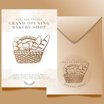 Bearbeitbare vorlage für die einladung zur eröffnung des aquarellbäckereigeschäfts