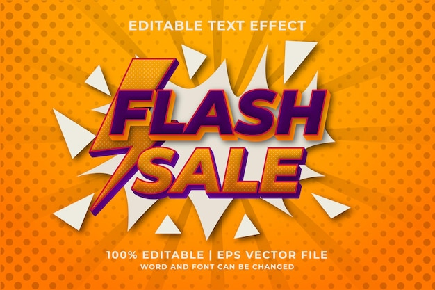 Bearbeitbare vorlage für flash-verkaufstexteffekte. premium-vektor