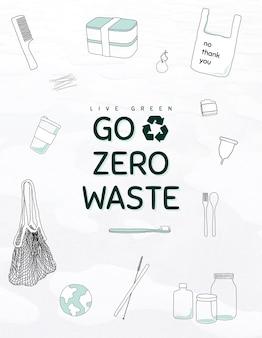 Bearbeitbare vorlage für go zero waste flyer