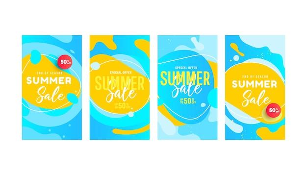 Bearbeitbare vorlage für heißen sommerverkauf mit flüssigen flüssigen elementen und blasenformen