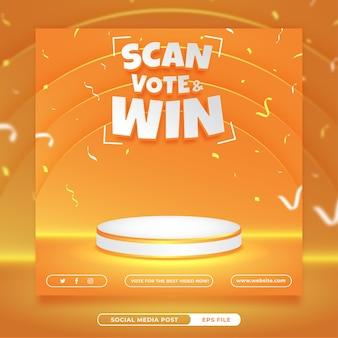 Bearbeitbare vorlage für quadratische banner für social-media-einladungswettbewerbe
