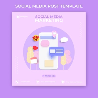 Bearbeitbare vorlage für social-media-beiträge. 3d-social-media-banner-werbung.