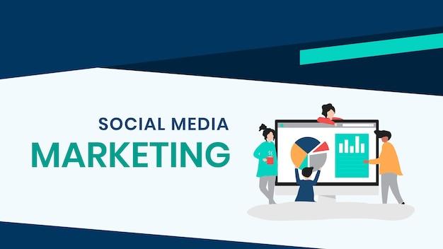 Bearbeitbare vorlage für social media-marketing-präsentationsfolien