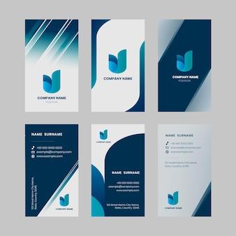 Bearbeitbare vorlage für visitenkarten in blautönen