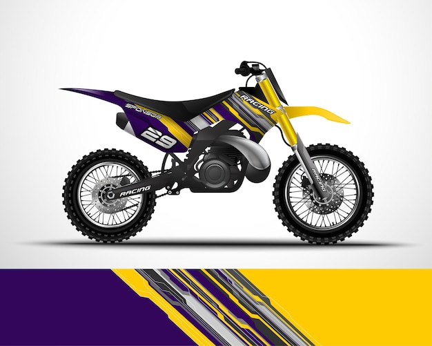 Bearbeitbare vorlage motocross, dirtbike, motorradverpackung und vinyl-aufkleber design.