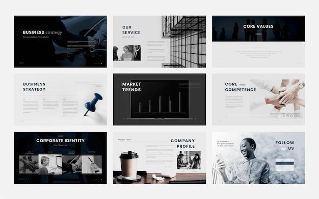 Bearbeitbare vorlagen für business-marketing-präsentationen