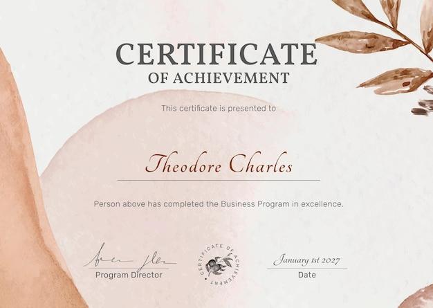 Bearbeitbare zertifikatsvorlage im femininen botanischen design