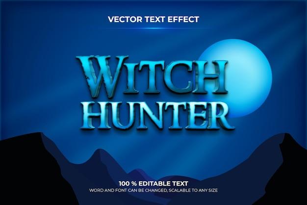 Bearbeitbarer 3d-texteffekt des hexenjägers mit blauem himmel im hintergrundstil der nacht
