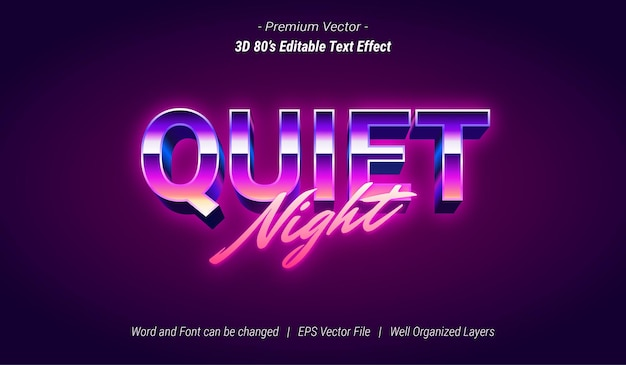Bearbeitbarer 3d-texteffekt für ruhige nacht
