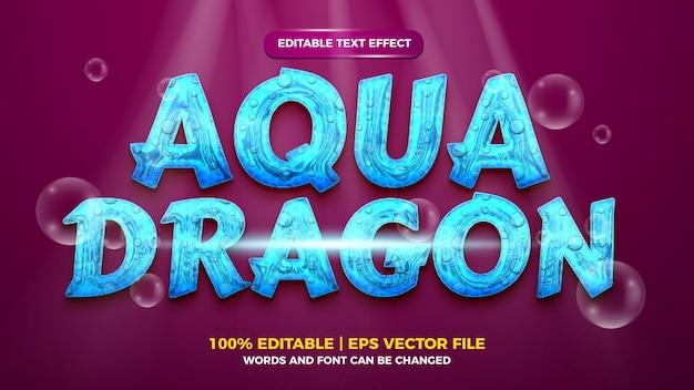 Bearbeitbarer 3d-texteffekt im flüssigen aqua-drachen-stil