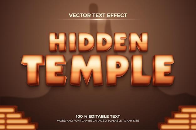 Bearbeitbarer 3d-texteffekt im versteckten tempel