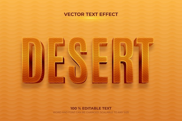 Bearbeitbarer 3d-texteffekt in der wüste mit sandhintergrundstil