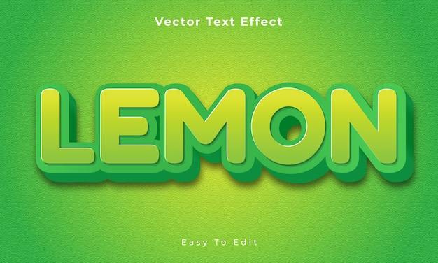 Bearbeitbarer 3d-texteffekt mit zitrone premium-vektor premium vecto