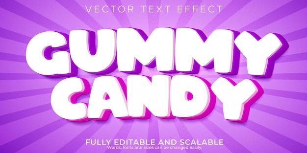 Bearbeitbarer cartoon- und comic-textstil mit gummiartigem bonbonext-effekt