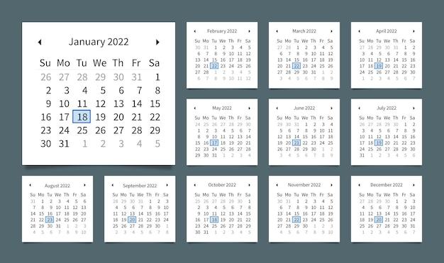 Bearbeitbarer digitaler webkalender für das neue jahr 2022 und zeitplanvorlage die woche beginnt am sonntag