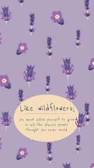 Bearbeitbarer floraler ästhetischer vorlagenvektor für social-media-geschichte mit inspirierendem zitat