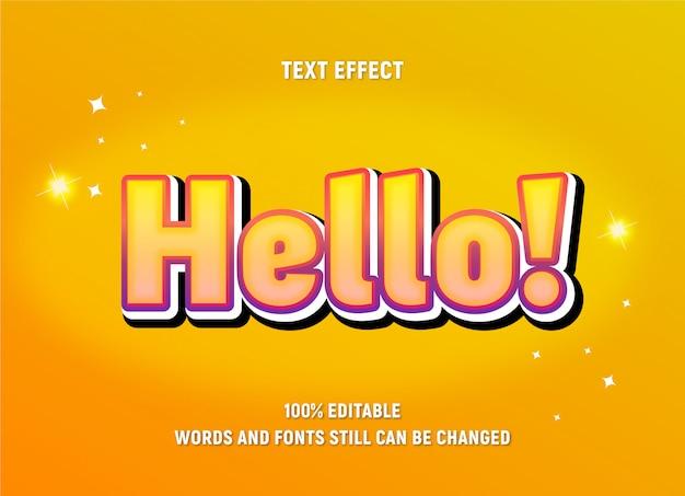 Bearbeitbarer gelber text über hallo mit verlaufseffekt.