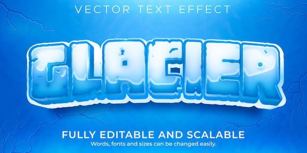Bearbeitbarer gletscher-texteffekt, eis und eingefrorener textstil
