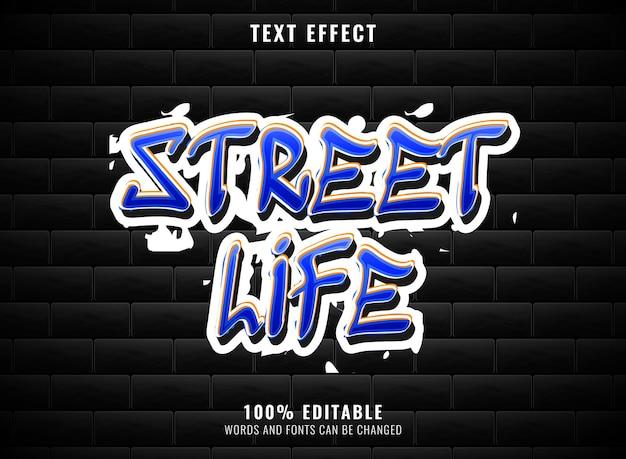 Bearbeitbarer graffiti-texteffekt für das straßenleben