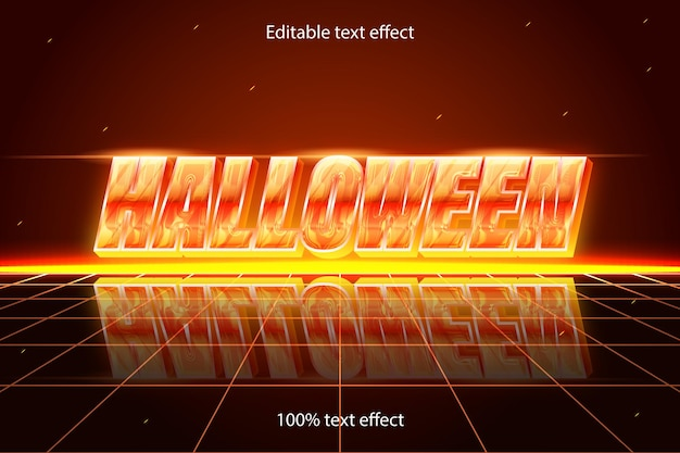 Bearbeitbarer halloween-texteffekt retro mit modernem stil