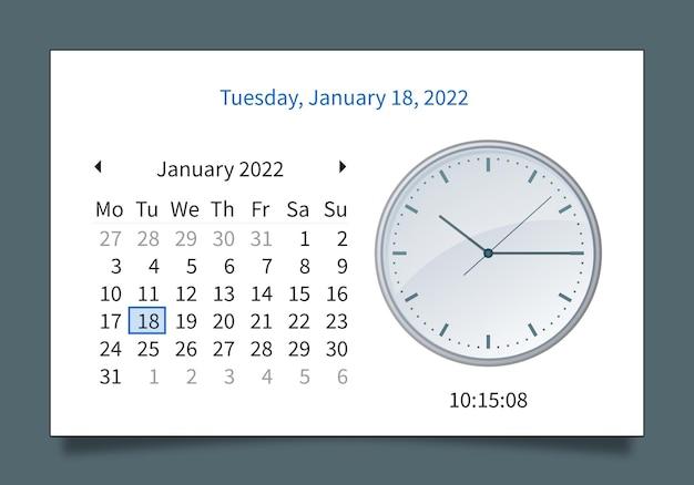 Bearbeitbarer kalender-datumsplaner-zeitplan und uhrsatz