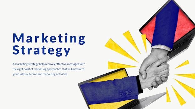 Bearbeitbarer marketingstrategie-vorlagenvektor mit online-networking-handshake-remixed-medien