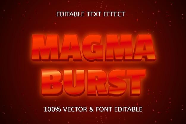 Bearbeitbarer neon-texteffekt im magma burst-stil