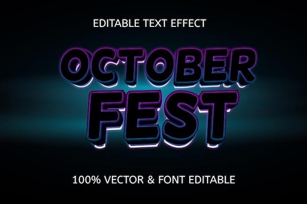 Bearbeitbarer neon-texteffekt im oktoberfest-stil