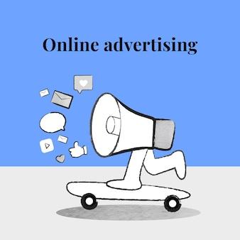 Bearbeitbarer online-werbevorlagenvektor mit megaphon auf blauem banner